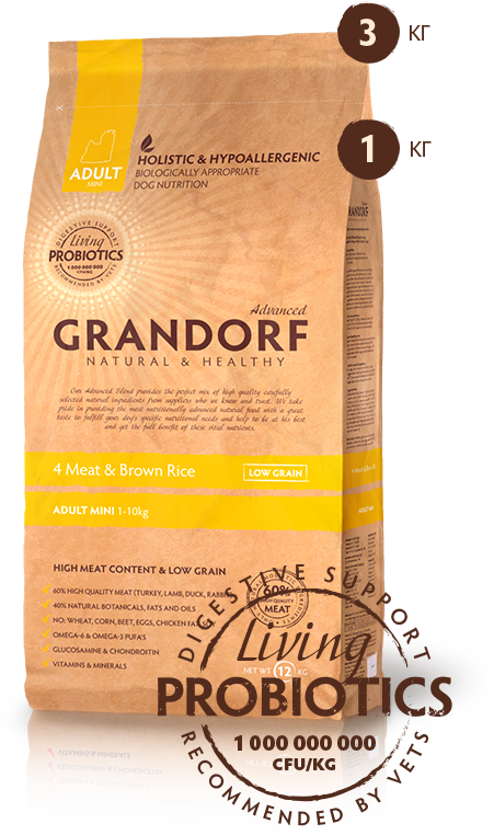 GRANDORF Probiotics Adult Mini 4 MEAT & BROWN RICE